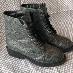 Xhilaration Silver Glitter Boots size 13 1/2